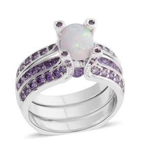 2pc Lab Created Opal, Simulated Purple Diamon ring